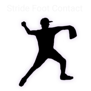 Stride Foot Contact-Baseball Pitcher pitching